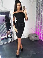 Элегантный черный костюм с открытыми плечами, фото 1