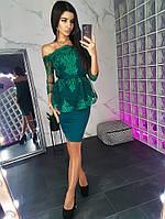 Элегантный зеленый костюм с открытыми плечами, фото 1