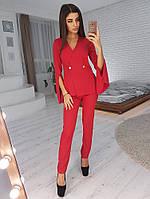 Красный брючный костюм с кейпом, фото 1