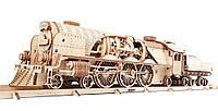 Механический 3D пазл UGEARS Локомотив c тендером V-Экспресс (70058)