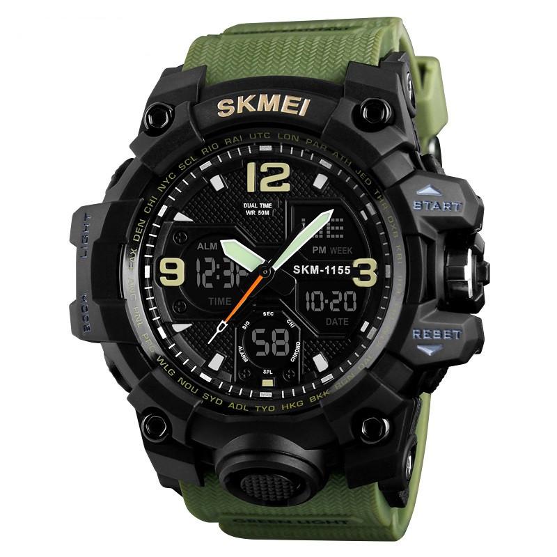 Skmei 1155 B  hamlet  зеленые мужские спортивные часы