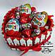 Композиція торт серце MAXI з кіндерами. Солодкий подарунок коханій, коханому, подрузі, мамі, донці, сину., фото 2