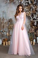 """Вечернее длинное платье """"Beneta"""" с гипюром и сеткой (3 цвета)"""