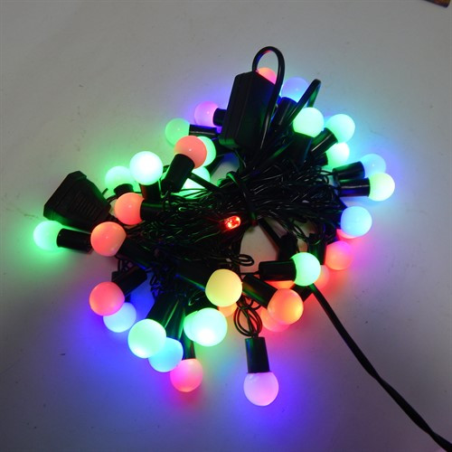 Гирлянда светодинамические Шарики, 40 led, размер фигурки: 1.4х1.4см, мульти, черный провод, 5,2м.
