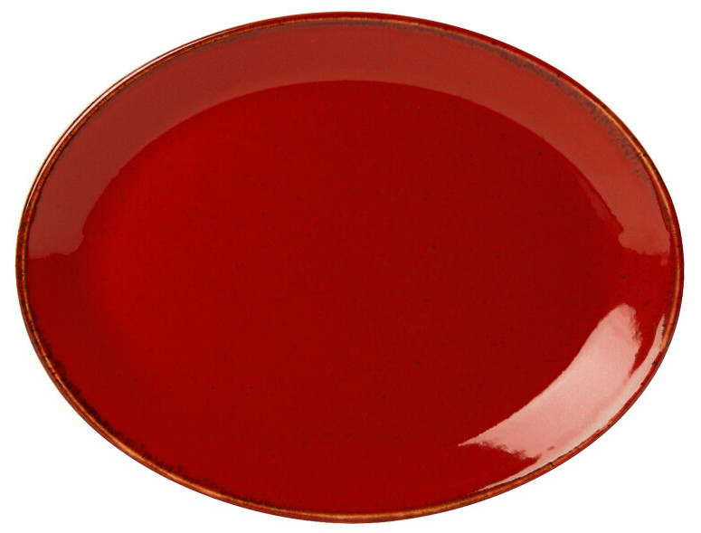 Блюдо овальное - 24 х 19 см, Красное (Porland) Seasons Red