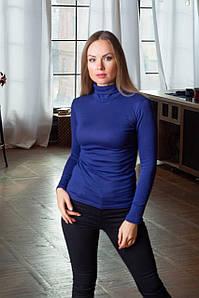 Женская трикотажная водолазка с начесом цвет электрик 40-52 р