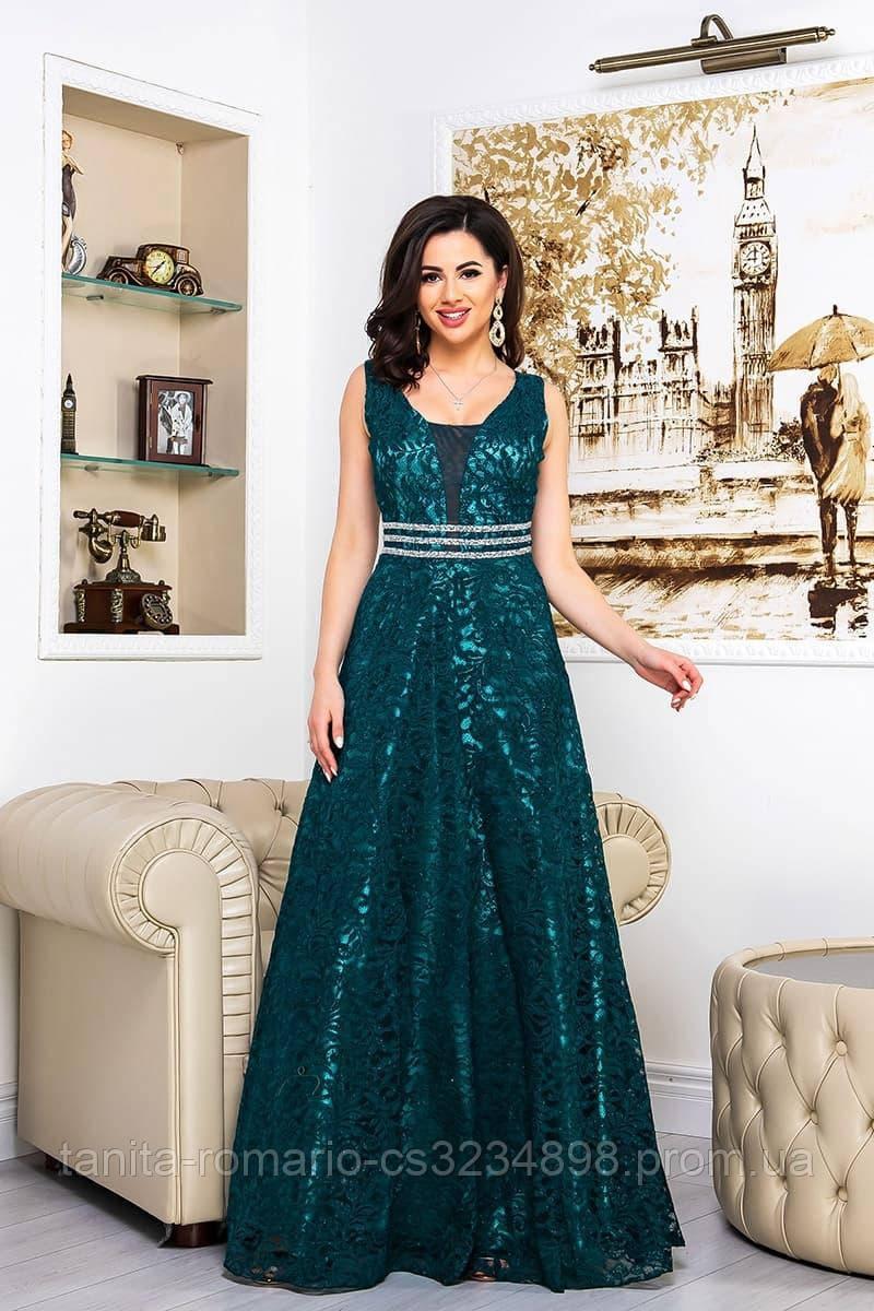 Вечернее платье 8067e Изумрудный S M L