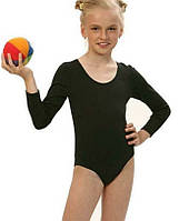 Купальник детский трикотажный чёрный для танцев и хореографии, размеры 110-158 см.