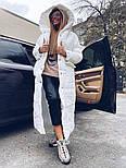 Длинное зимнее плащевое женское пальто с объемным капюшоном и карманами 1802258, фото 5