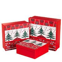 """Набор новогодних подарочных коробок """"Новогоднее приключение"""" 3 шт. Большие (28х28х10 см)"""