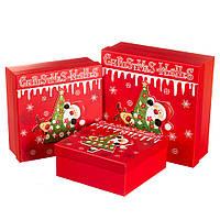 "Набор новогодних подарочных коробок ""Ёлочка"" 3 шт.  Большие (28х28х10 см) можно поштучно, фото 1"