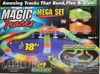 Magic Tracks 360 деталей с мостом. 2 машинки на 3 батарейках. Детская гибкая дорога