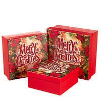 "Набор новогодних подарочных коробок ""Merry Christmas"" 3 шт. средние (20х20х9.5 см), фото 1"