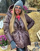 Женская зимняя яркая куртка с капюшоном и поясом 1801195
