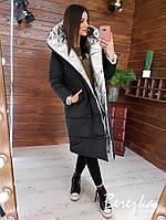 Теплая зимняя удлиненная куртка двухсторонняя зефирка с большим капюшоном 6601200Q