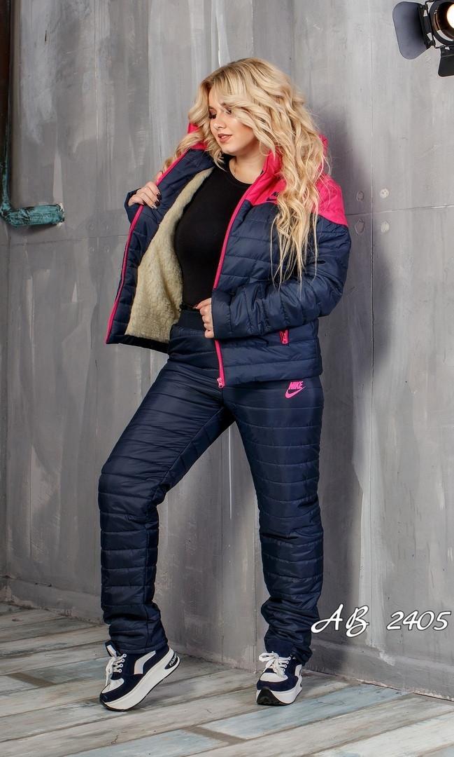 Зимний дутый костюм куртка и штаны утепленные овчиной и синтепоном, 48 50 52 54