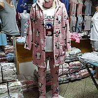 Женский махровый комплект: халат, пижама, тапочки и повязка. Турция.
