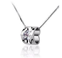Серебряный кулон сердечко с белым камнем стерлинговое серебро 925 проба кулончик, фото 1