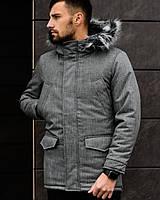 Мужская серая зимняя куртка Мaунт (люкс качество) р. C, М, ХЛ