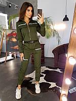 Курточка и брюки -карго  с отделкой лентой цвета хаки, фото 1