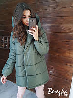 Зимняя куртка- зефирка цвета хаки, фото 1