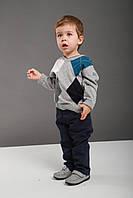 Детский свитер для мальчика BRUMS Италия 123BDHC005 серый с белыми,серыми,бирюзовыми,чёрными ромбиками