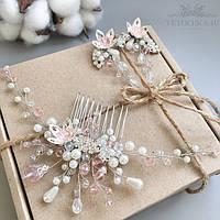 Свадебный набор белого цвета, веточка и серьги ручной работы, украшение для волос, украшения для невесты