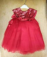 Платье на девочку хлопок, фатин, 5-6-7-8 лет,верх паетки, алый