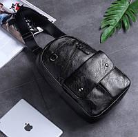 Мужской рюкзак на одно плечо. Черный
