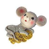 "Магнит сувенир на новый год ""Мышка с монетами"" (8х6,5 см)"