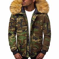 Куртка мужская на зиму из полиэстера короткая теплая камуфляжная ТОП качество