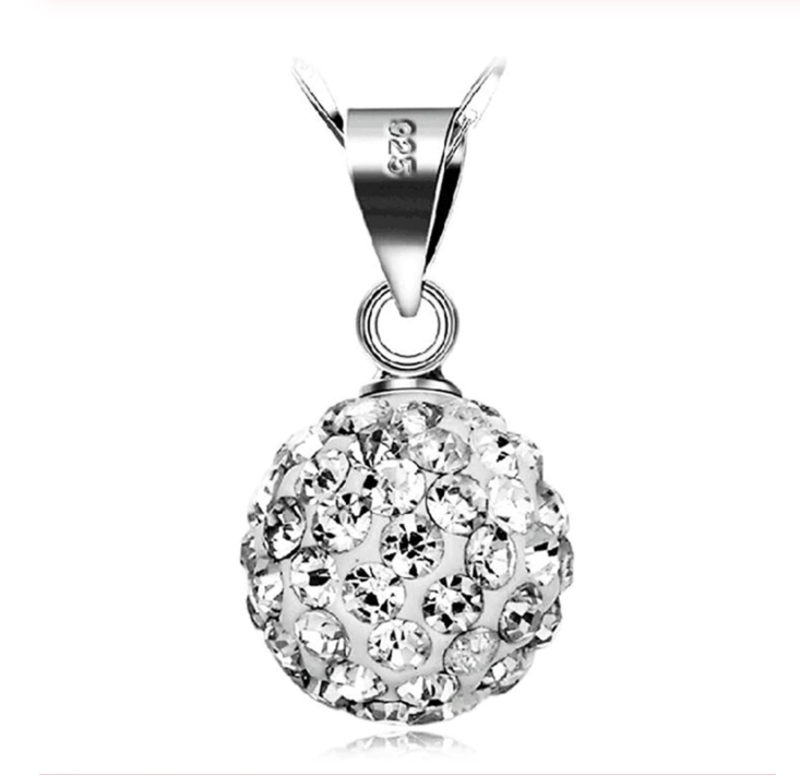 Серебряный кулон зеркальный шар с белыми камнями стерлинговое серебро 925 проба
