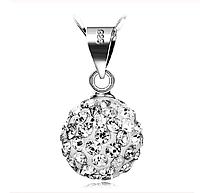 Серебряный кулон зеркальный шар с белыми камнями стерлинговое серебро 925 проба, фото 1