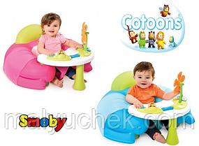 Детское кресло Smoby Toys Cotoons с игровой панелью Голубое, розовое  (110210)