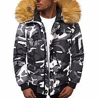 Куртка мужская зимняя из полиэстера короткая теплая до -12*, белый камуфляж с капюшоном