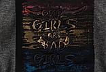 Свитшот молодежный р.122,128,134,140,146,152 для девочки SmileTime Good Girls, темно-серый, фото 5