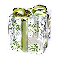 """Ёлочное светящееся украшение """"Хрустальный подарок"""" (стекло) 10 см, фото 1"""