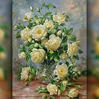 Алмазная вышивка Желтые Розы 30x40 см, полная