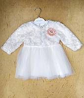 Платье на девочку интерлок, фатин, велсофт, 9-12-18 мес,белый
