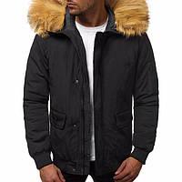 Мужская куртка зимняя стильная теплая повседневная в черном цвете