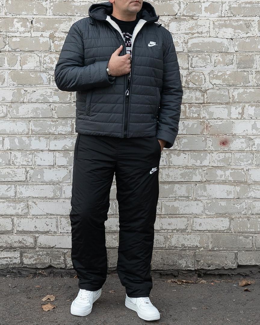 Мужской теплый зимний костюм. Мужской костюм на овчине Nike. 46