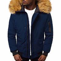 Синяя мужская куртка из полиэстера короткая с карманами капюшоном на зиму