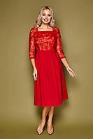 Красное нарядное платье-миди с вышивкой новогоднее