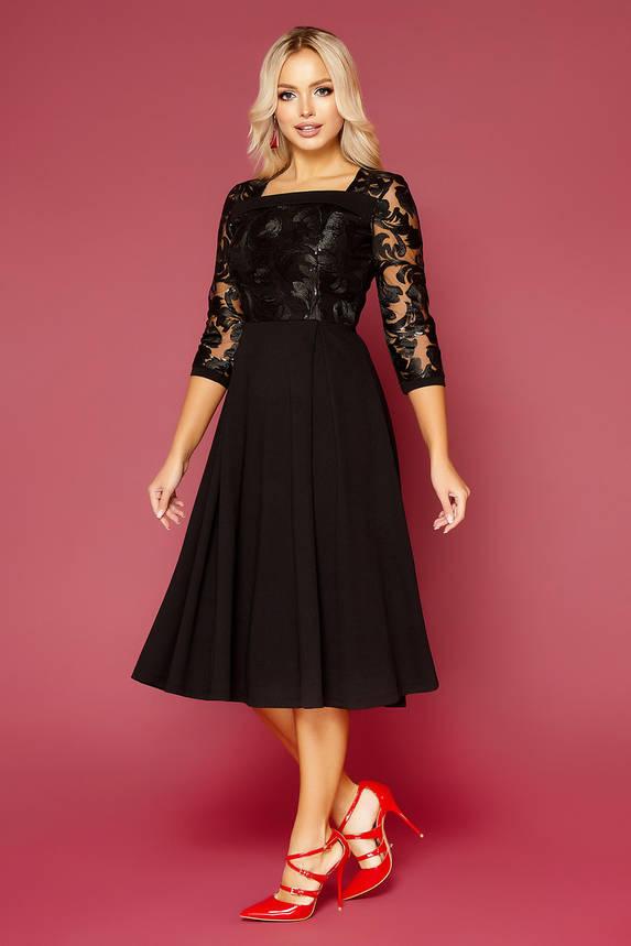 Черное нарядное платье-миди с вышивкой, фото 2