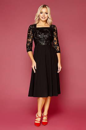 Черное нарядное платье-миди с вышивкой, фото 3