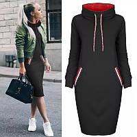 Женское стильное платье на флисе с воротником С, М +большие размеры Разные цвета