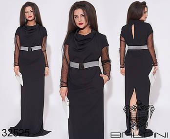 Оригинальное черное платье в пол с воротником хомут с 48 по 62 размер