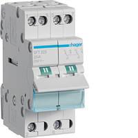 Выключатель (переключатель) нагрузки Hager I-0-II с общим выходом сверху, 2-пол.,25А/230В, 2м (мини-рубильник)