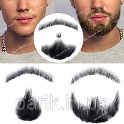 🧔 Борода и усы реалистичные — накладка на сетке чёрного цвета
