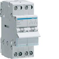 Выключатель (переключатель) нагрузки Hager I-0-II с общим выходом сверху, 2-пол.,32А/230В, 2м (мини-рубильник)